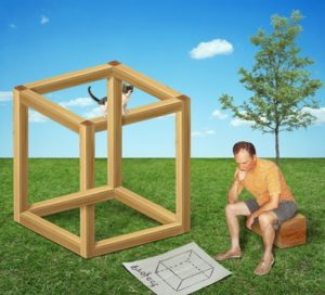 The man built a impossible cube. He is looking for a mistake in your project.
