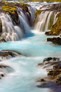 Detail of the Bruarfoss waterfall in Iceland